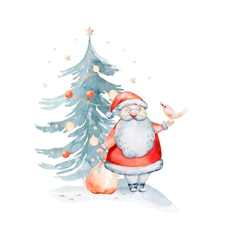 サンタ、休日、クリスマスツリーと水彩のメリークリスマスのイラスト。クリスマスのお祝いカード。冬の新年のデザイン。