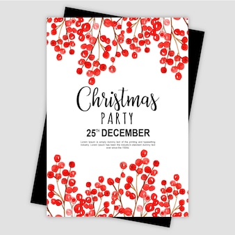 Watercolor Merry Christmas Party Invitation Card