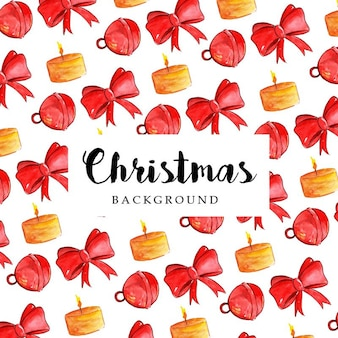 Watercolor merry christmas pattern background