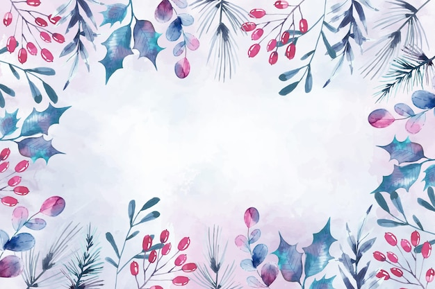 Watercolor merry christmas wallpaper concept