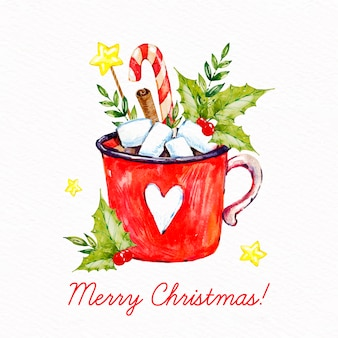 Watercolor merry christmas wallpaper