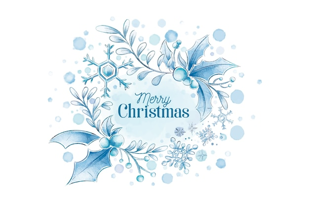 Watercolor merry christmas winter background