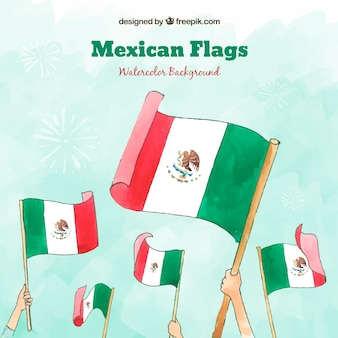 Watercolor mexican flag background
