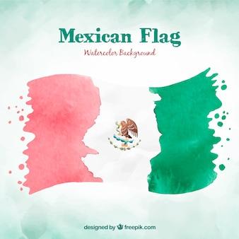 Акварельный мексиканский флаг фон
