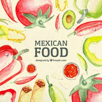 Watercolor mexican food background