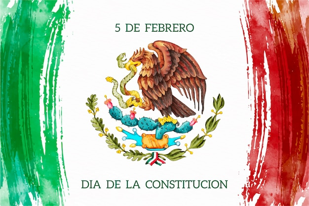 Watercolor mexico constitution day