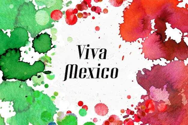 Watercolor mexico independence day concept