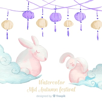 Watercolor mid autumn festival background