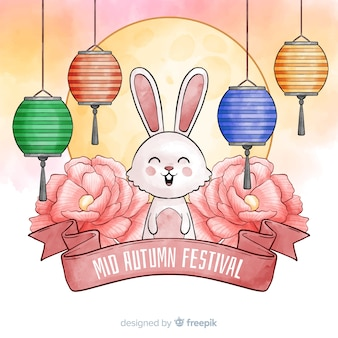 Watercolor mid autumn festival