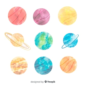 Watercolor milky way planet collection
