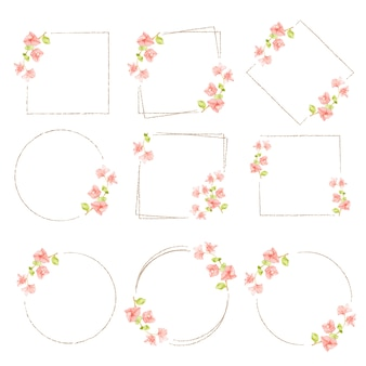 Watercolor minimal bougainvillea flower wreath frame collection