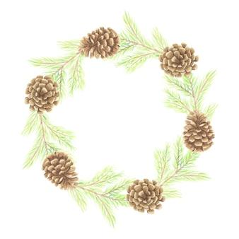 Акварель минимальная рождественская рамка из сосновых листьев и шишек с копией пространства