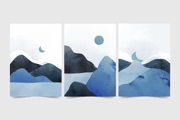 Collezione di copertine di paesaggi minimi dell'acquerello