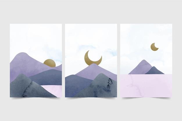 水彩画の最小限の風景カバーコレクション