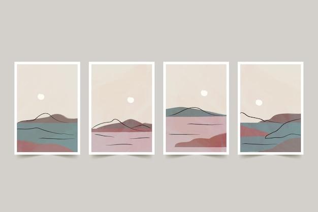 水彩画の最小限の風景はコレクションをカバーしています