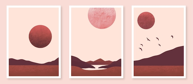 Watercolor minimal landscape covers collection