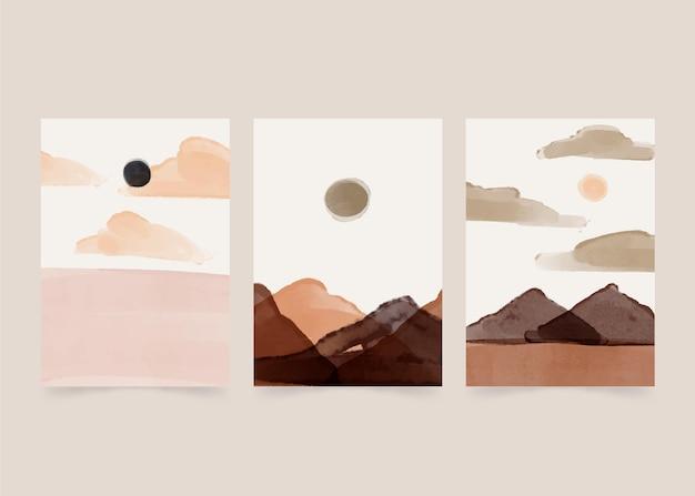 수채화 최소한의 풍경 커버 컬렉션