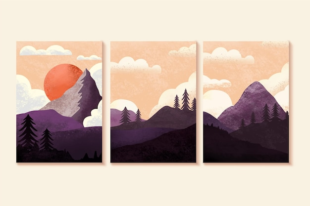Watercolor minimal landscape covers set