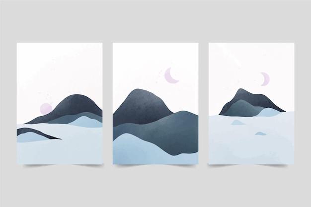 Акварельные минималистичные пейзажные обложки