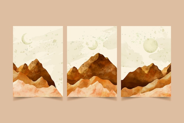 Watercolor minimal landscape covers