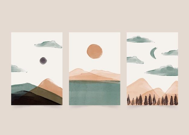 Watercolor minimal landscape covers