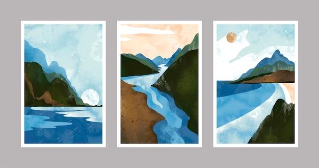 Copertine di paesaggio minimo dell'acquerello