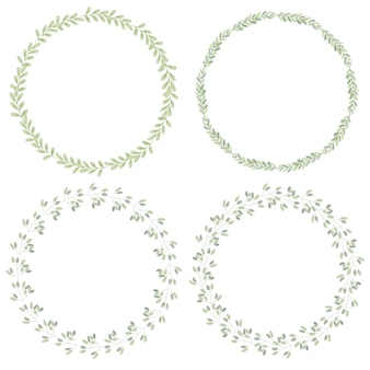 Watercolor minimal leafs wreath collection