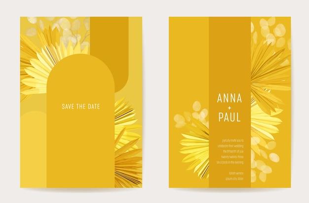 Акварель минимальный свадебный вектор цветочные приглашения. бохо сохранить финик сухие пальмовые тропические листья, набор цветов лунарии, шаблон иллюстрации. современная рамка дизайн плаката, роскошный фон