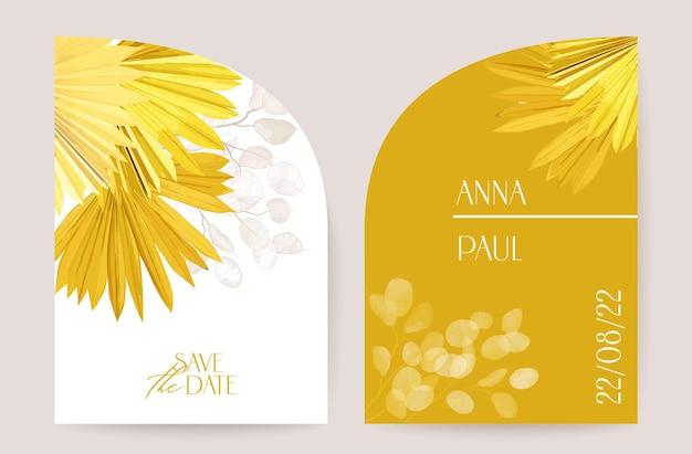 Акварель минимальный свадебный вектор цветочные приглашения. сохраните финиковую сухую пальму тропических листьев, набор карточек цветы лунарии, шаблон иллюстрации. современная рамка дизайн плаката, роскошный фон