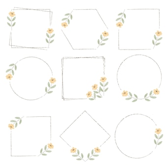 Watercolor minimal yellow wild tiny cosmos flower wreath frame collection digital painting
