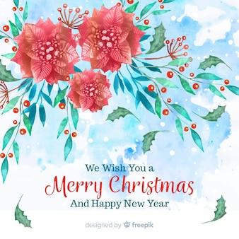 Watercolor mistletoe christmas background