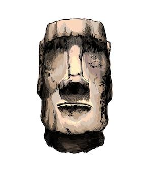 Watercolor moai statue, easter island statue on white