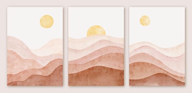 水彩のモダンな抽象的な山の風景の形の背景セット