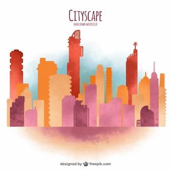 수채화 현대 도시 배경
