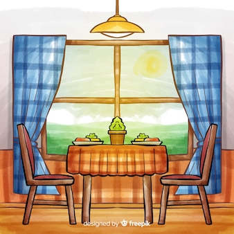Watercolor modern restaurant interior