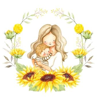 Акварель мама и ребенок в венке из подсолнечника