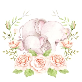 Watercolor mom and baby elephant with roses wreath