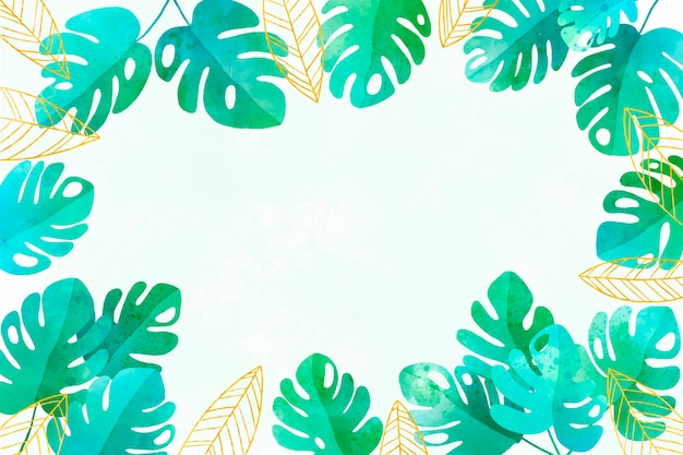 Watercolor monstera leaves background with golden foil