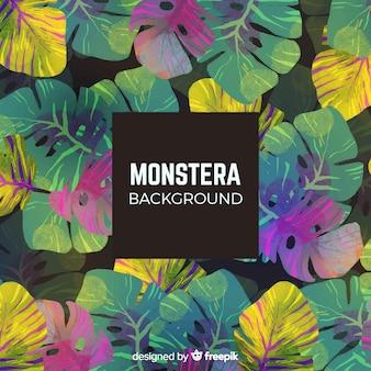 Watercolor monstera leaves pattern