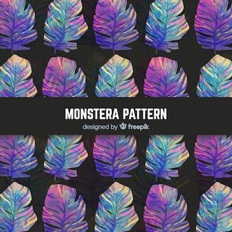 수채화 몬스 테라 잎 패턴