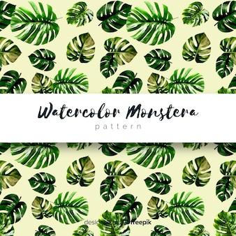 Watercolor monstera leaves pattern