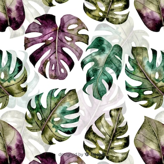 Watercolor monstera pattern