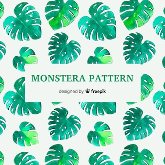Watercolor monstera pattern