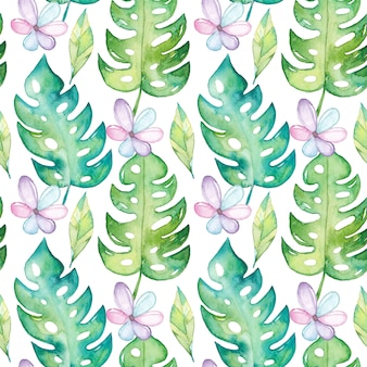 Watercolor monstera seamless pattern