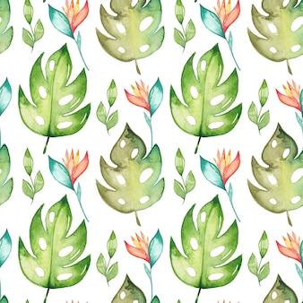 Watercolor monstera seamless pattern