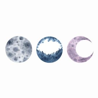 白で隔離される水彩月三日月