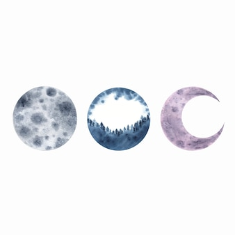 Watercolor moon crescent isolated on white