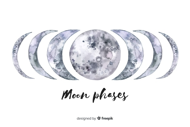 Watercolor moon phases collection