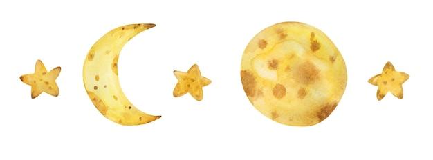 Акварель луна звезда набор рисованной