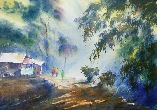 Акварель утренний свет пейзаж